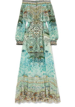 Camilla - The Long Way Home Embellished Printed Silk Crepe De Chine Maxi Dress - Jade