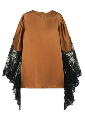 Christopher Kane - Lace-paneled Satin Top - Brown