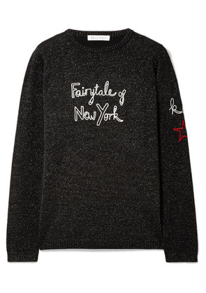 Bella Freud - + Kate Moss Fairytale Of New York Embroidered Metallic Wool-blend Sweater - Black