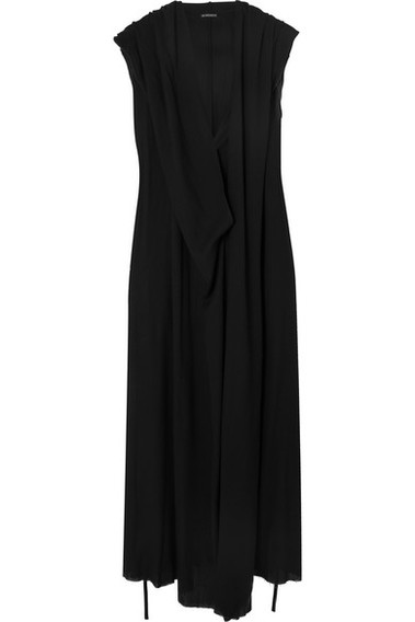 Ann Demeulemeester Hooded Crepe Maxi Dress Black Milanstyle