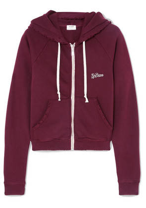 RE/DONE - Embroidered Stretch-cotton Terry Hoodie - Burgundy