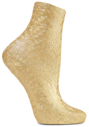 Maria La Rosa - Ribbed Metallic Silk-blend Socks - Gold