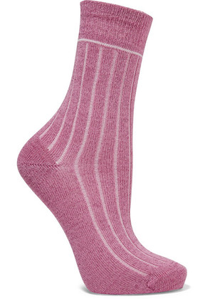 Maria La Rosa - Metallic Cotton-blend Socks - Pink