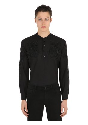 FLORAL EMBROIDERED LIGHT WOOL SHIRT