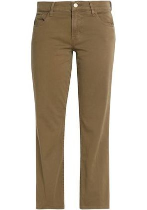 J Brand Woman Brushed Cotton-blend Flare Pants Army Green Size 28