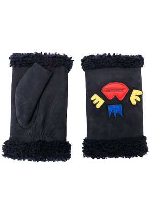 Agnelle patch embroidered gloves - Blue