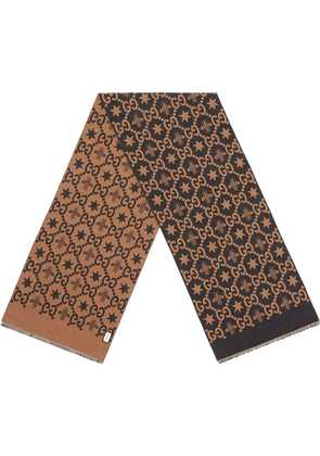 Gucci Bees and stars GG jacquard scarf - Brown