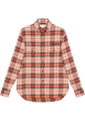 Gucci Check cotton shirt with Paramount logo - Neutrals