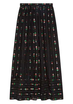 Gucci Silk maxi skirt with fil coupé - Black