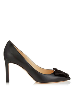 TAREN 85 Black Soft Patent Pumps with Black Satin Bows