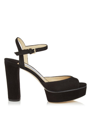PEACHY 105 Black Suede Platform Sandals