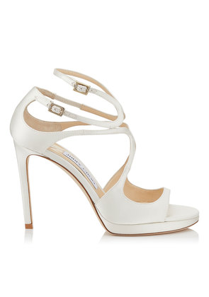 LANCE/PF 100 Ivory Satin Strappy Sandals
