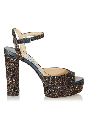PEACHY 125 Amethyst Mix Twinkle Glitter Fabric Platform Sandals
