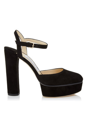 MAPLE 125 Black Suede Platform Pumps