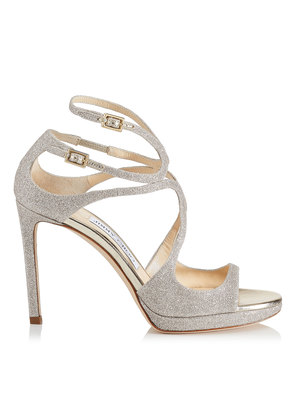 LANCE/PF 100 Platinum Ice Dusty Glitter Fabric Strappy Sandals