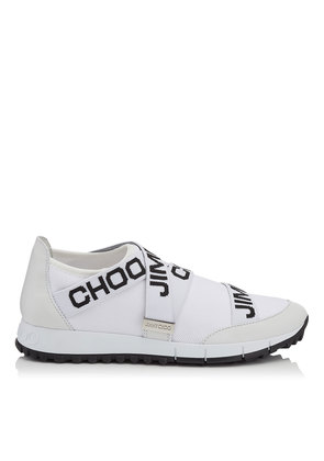 TORONTO White and Black Nappa and Knit Elastic Slip On Trainers
