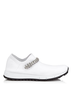 VERONA White Knit Trainers with Crystal Detailing