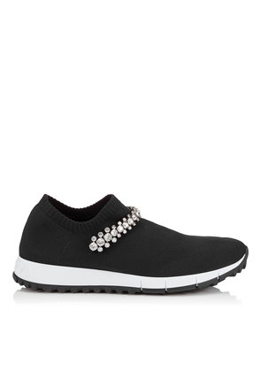 VERONA Black Knit Trainers with Crystal Detailing