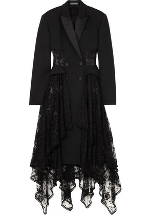 Alexander McQueen - Layered Silk-satin Trimmed Wool-blend And Lace Coat - Black