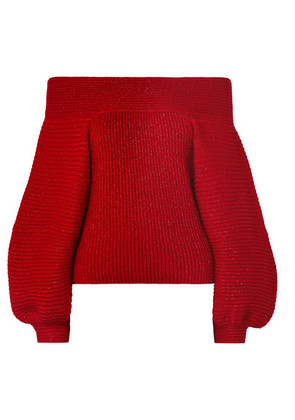 Oscar de la Renta - Off-the-shoulder Metallic Ribbed Wool-blend Sweater - Red