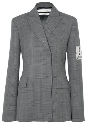 Off-White - Galles Appliquéd Checked Woven Blazer - Gray