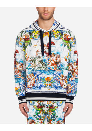 Dolce & Gabbana Sweaters - PRINTED COTTON HOODIE MAJOLICA PRINT