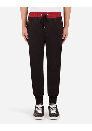 Dolce & Gabbana Trousers - STRETCH COTTON JOGGING PANTS WITH PATCH BLACK