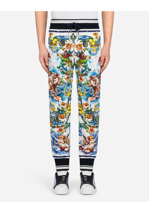 Dolce & Gabbana Trousers - PRINTED COTTON JOGGING PANTS MAJOLICA PRINT