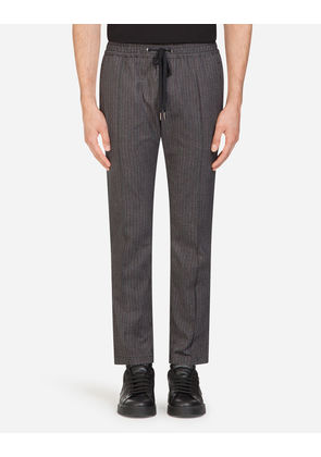 Dolce & Gabbana Trousers - JOGGING PANTS IN PRINTED STRETCH COTTON GRAY