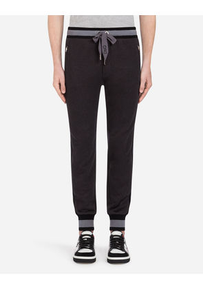 Dolce & Gabbana Trousers - COTTON JOGGING PANTS WITH BRANDED SIDE BANDS GREY