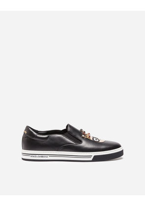 Dolce & Gabbana Sneakers and Slip-On - SLIP-ON SNEAKERS WITH PATCHES OF THE DESIGNERS BLACK