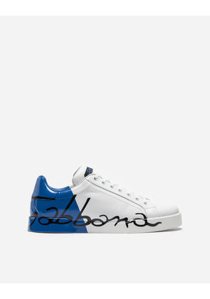 Dolce & Gabbana Sneakers and Slip-On - PORTOFINO SNEAKERS IN LEATHER AND PATENT WHITE/BLUE