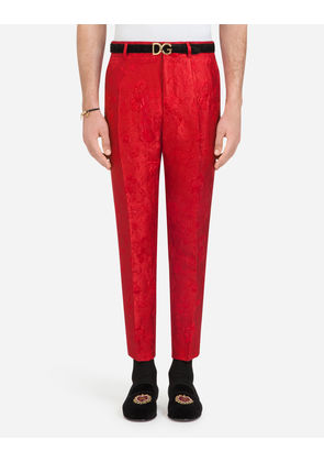 Dolce & Gabbana Trousers - PANTS IN COTTON JACQUARD RED