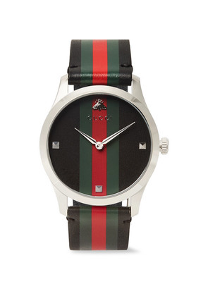 G-timeless 38mm Stainless Steel And Striped Leather Watch