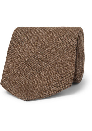 Emma Willis - 9cm Prince Of Wales Checked Wool, Silk And Cashmere-blend Tie - Brown