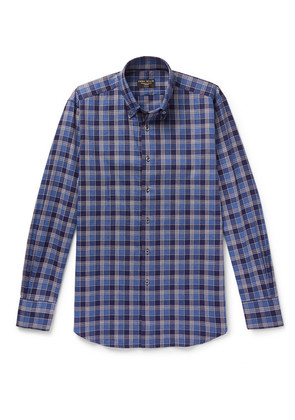 Button-down Checked Brushed-cotton Shirt