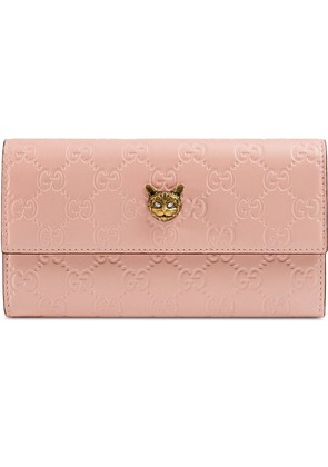 Gucci Gucci Signature continental wallet with cat - Pink