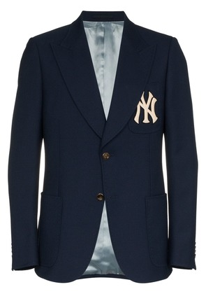 Gucci NY Yankees embroidered single breasted wool blend blazer - Blue