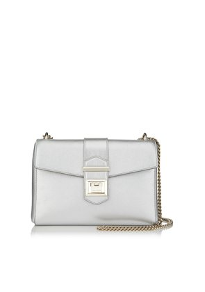 MARIANNE SHOULDER BAG/S Silver Metallic Grainy Calf Leather Shoulder Bag