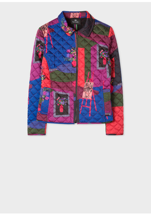 Women's 'Still Life Bouquet' Print Quilted Jacket