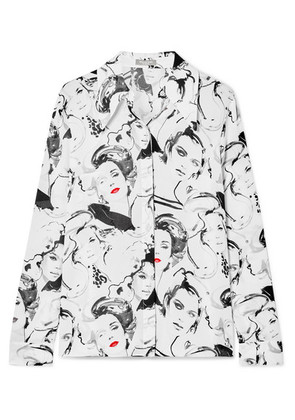 Michael Kors Collection - + David Downton Printed Silk Crepe De Chine Blouse - White