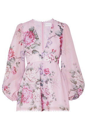 alice McCALL - One By One Floral-print Cotton And Silk-blend Playsuit - Lilac