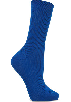 Maria La Rosa - Ribbed Organic Cotton Socks - Cobalt blue