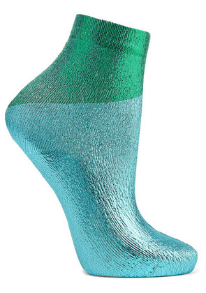 Maria La Rosa - Two-tone Metallic Silk-blend Socks - Turquoise
