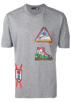 Love Moschino skiing patterned T-shirt - Grey