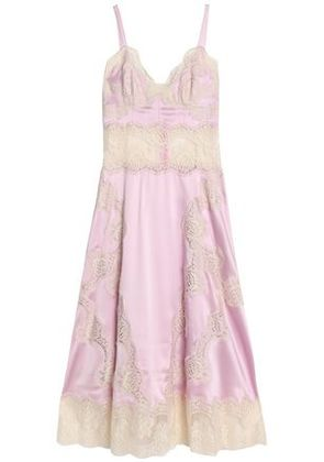 Dolce & Gabbana Woman Corded Lace-trimmed Silk-blend Satin Midi Dress Baby Pink Size 40