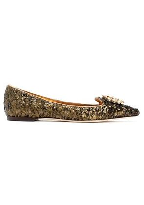 Dolce & Gabbana Woman Embellished Point-toe Ballet Flats Bronze Size 35.5