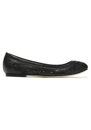 Dolce & Gabbana Woman Broderie Anglaise Leather Ballet Flats Black Size 35.5