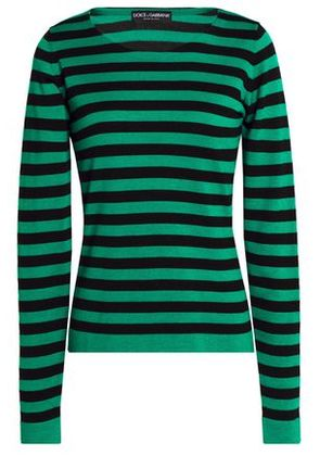 Dolce & Gabbana Woman Striped Cashmere And Silk-blend Sweater Green Size 38