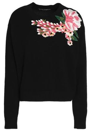 Dolce & Gabbana Woman Floral-appliquéd Wool And Cashmere-blend Sweater Black Size 40